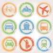Stock Vector: Stickers with municipal transportation images grunge