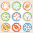 Stock Vector: Set of Sports Ball Stickers
