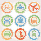Stickers with municipal transportation images grunge — Stock Vector