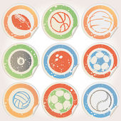 Set of Sports Ball Stickers — Stock Vector