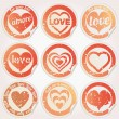 Vector sticker grunge heart love — Stock Vector