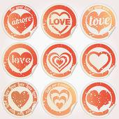 Vector sticker grunge heart love — Stock Vector