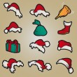 Stock Vector: Set santa claus hats clothing christmas icons vector