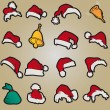 Set santa claus hats clothing christmas icons vector — Stock Vector