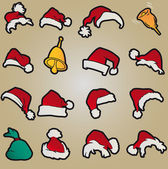 Set santa claus hats clothing christmas icons vector — Stock Vector