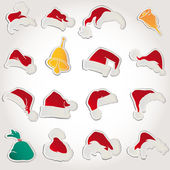 Set santa claus hats clothin christmas icons vector — Stock Vector