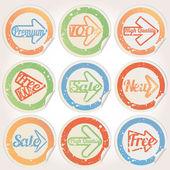 Set sticker grunge message — Vecteur