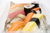 Sushi in plastic box , Food for take home — Stock Photo
