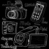 Schizzo di fotocamera e tecnologia — Foto Stock