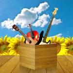 nöjd med musik instrumenterar — Stockfoto