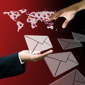 Businessman send mail to customer — Stock Photo