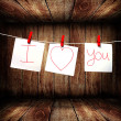Royalty-Free Stock Photo: Note paper hanging on a rope, Love note concept