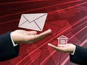 Postman send letter to home — Stock Photo