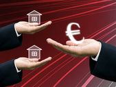 Mortagge the house with Bank — Stock Photo