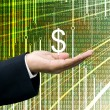 Businessman take profits with abstract digital data background — Stock Photo
