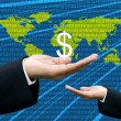 Businessman&#039;s hand share Dollar with digital wold map background - Stock Photo