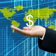 Businessman's hand carry Dollar icon with digital data background — Stock Photo #8141732
