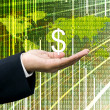 Businessman's hand carry Dollar icon with digital wold map background — Stock Photo
