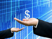 Businessman share profits with abstract digital data graph — Foto Stock