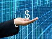 Businessman take profits with abstract digital data background — Stok fotoğraf