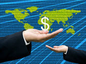 Businessman's hand share Dollar with digital wold map background — Stockfoto