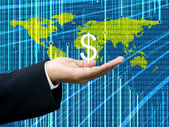 Businessman's hand hold Dollar with digital wold map background — Fotografia Stock