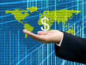 Businessman's hand carry Dollar icon with digital data background — Stock Photo