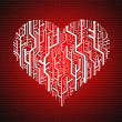 Circuit board in Heart shape, Technology background — Stockfoto