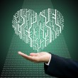 Businessman carry the Circuit board in heart shape — Stock Photo #8238016