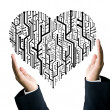 Business take care the circuit board in heart shape - Stock Photo