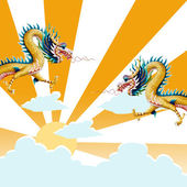 Dragon flying with sunset background — Stock Photo