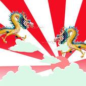 Drachen fliegen mit sonnenuntergang — Stockfoto