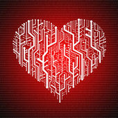 Circuit board in Heart shape, Technology background — Stock Photo