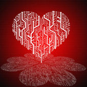 Circuit board in Heart shape with pattern on ground — Stock Photo