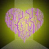 Heart graphic in circuit board theme — Stock Photo