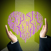 Business hand carry the circuit board in heart shape with digit background — Stock Photo
