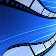 Blank film strip flying background — Stock Photo