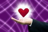 Magico amore su palmare — Foto Stock