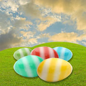 Easter egg in meadow with sky background — Stock Photo
