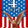 July 4 and eagle statue with American flag background — Stock Photo #8953119