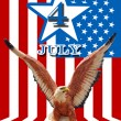 July 4 and eagle statue with American flag background — Stock Photo #8953178
