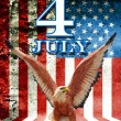 July 4 and eagle statue with American flag background - ストック写真