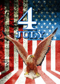 July 4 and eagle statue with American flag background — Stock Photo