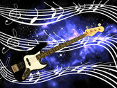 Bass guitar and note in the deep space — Stock Photo