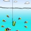 Dollar cash on fishing hook with fish enclose — 图库照片