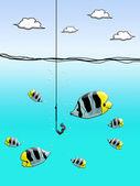 Worm op een visserij haak met vis — Stockfoto