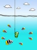 Dollar cash on fishing hook with fish enclose — Stock Photo