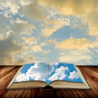 图库照片: Open book to blue sky