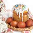 Easter cake and red eggs — Stock Photo