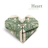 Dollar folded into heart — Stock Photo
